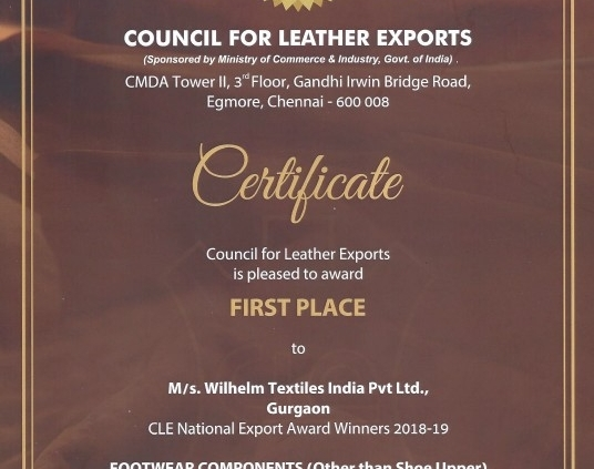 Wilhelm Textil Indien mit CLE Export Preis ausgezeichnet