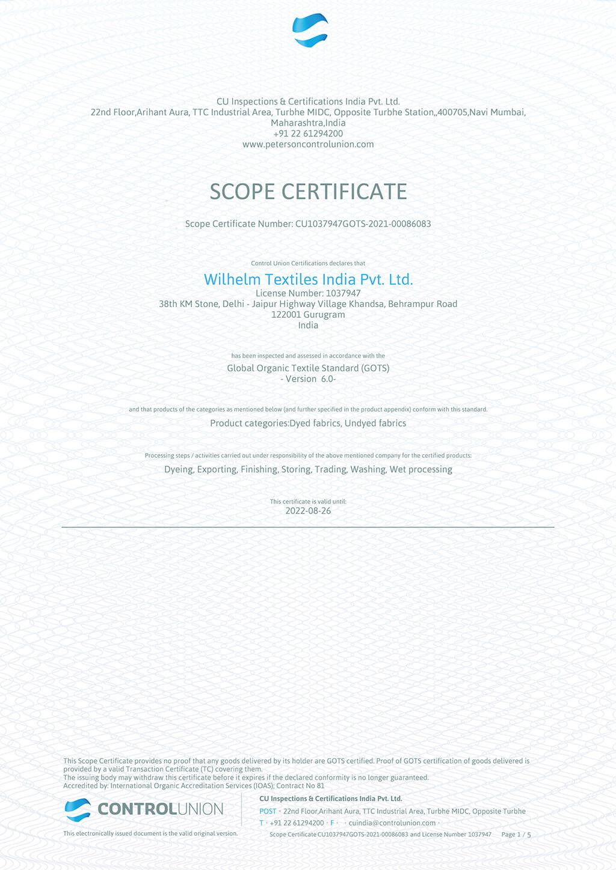 GOTS Scope Certificate