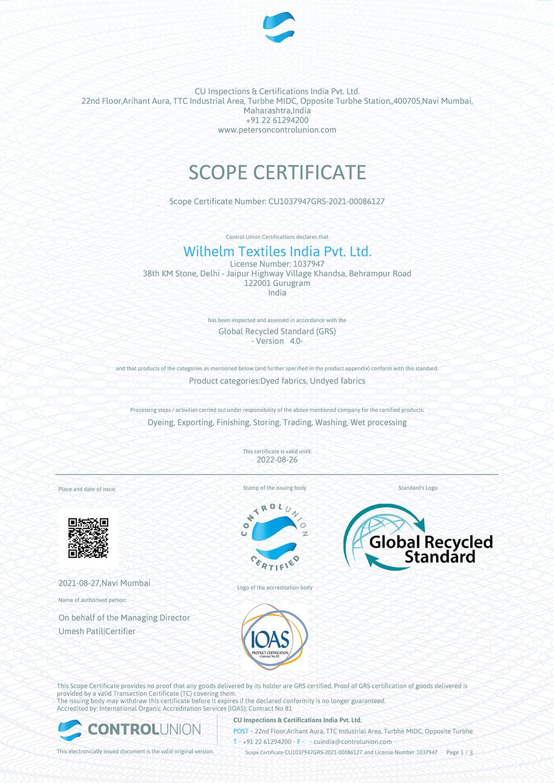 GRS Scope Certificate