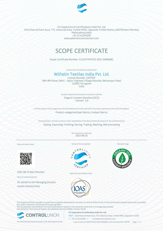 OCS Scope Certificate